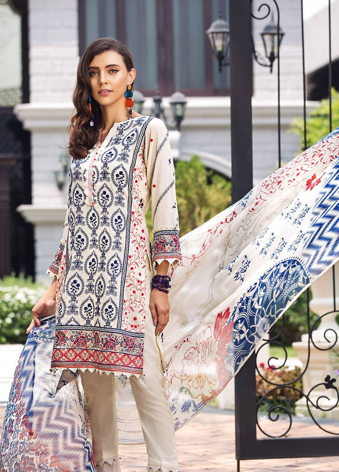 Mohagni Embroidered Lawn Unstitched 3 Piece Suit MOG19F 07 - Festive Collection