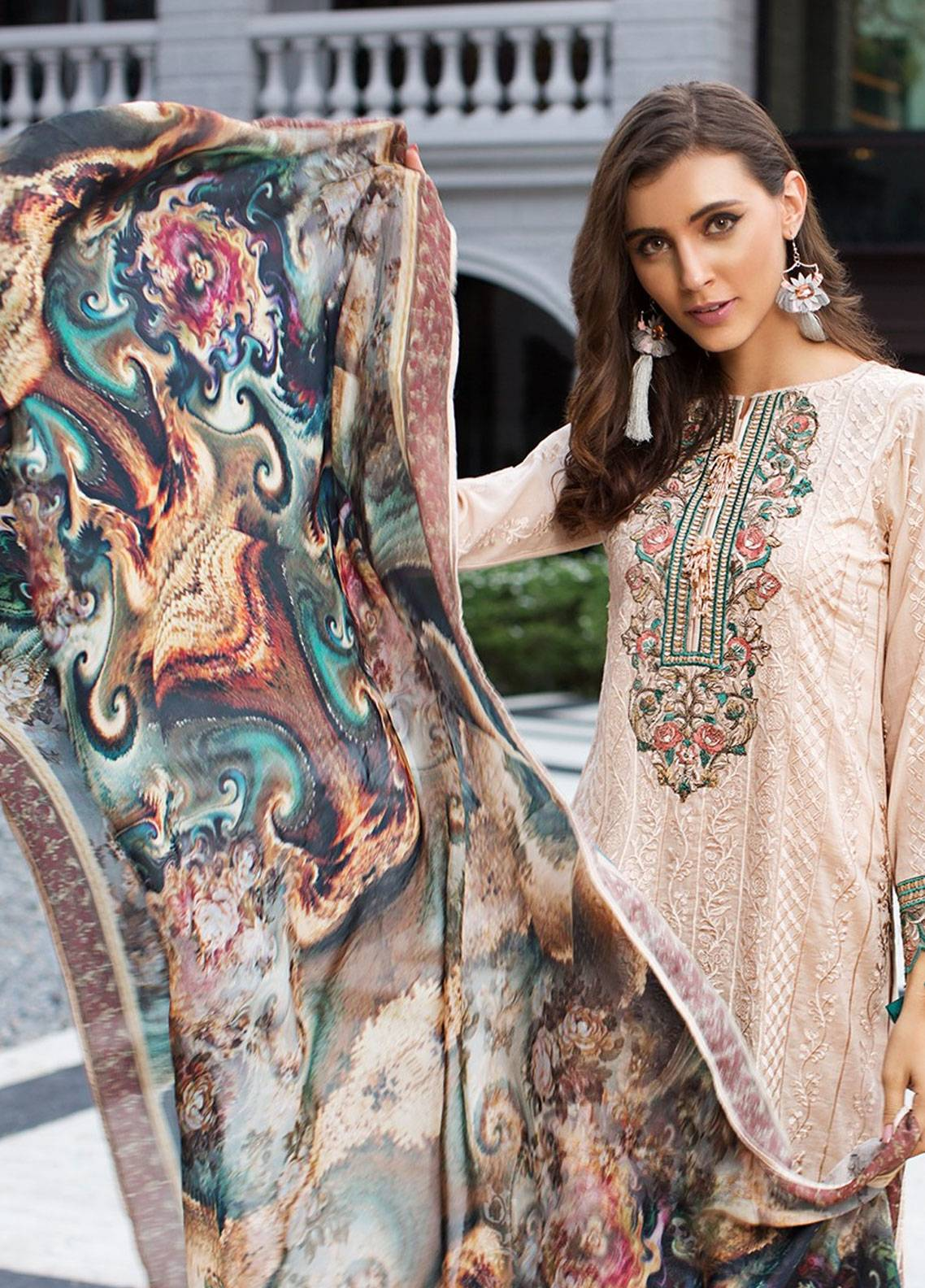 Mohagni Embroidered Lawn Unstitched 3 Piece Suit MOG19F 08 - Festive Collection
