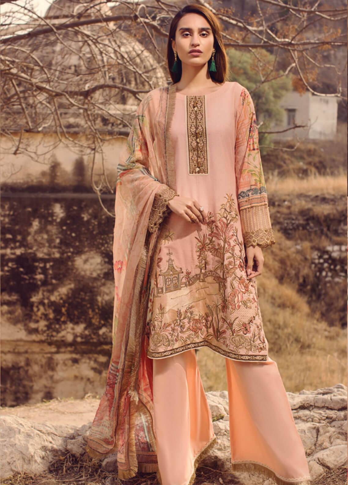 Mohagni Embroidered Lawn Unstitched 3 Piece Suit MOG19L 08 - Spring / Summer Collection