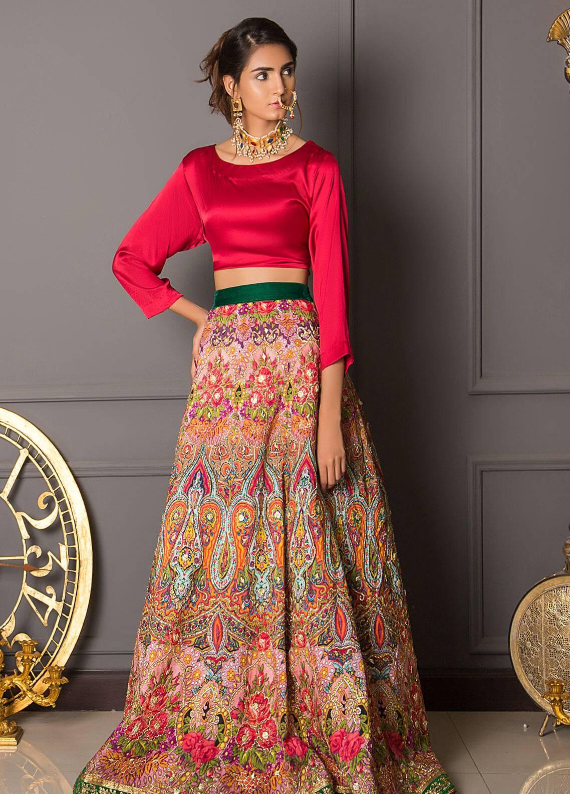 Momal Khan Embroidered  Stitched Bridal Suit MK-03B Floral Dusk