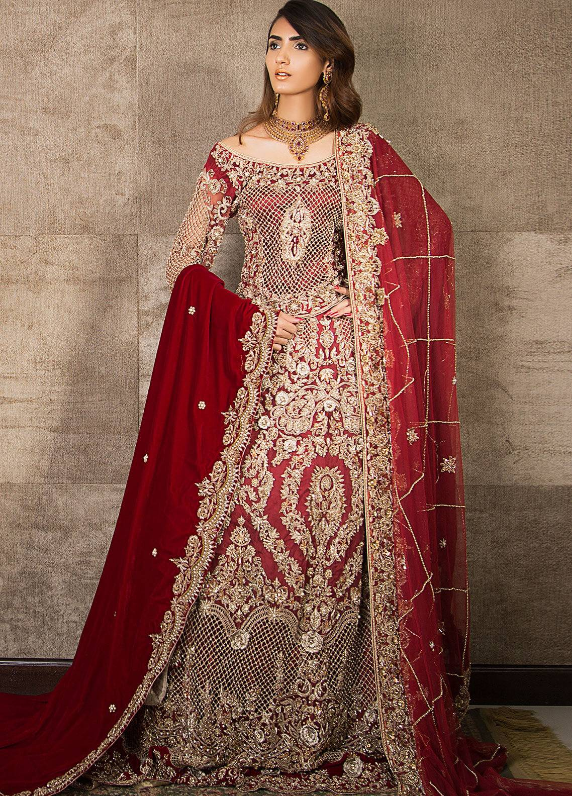 6e2e0b4dbaa Momal Khan Embroidered Stitched Bridal Suit MK-09B Classic Red