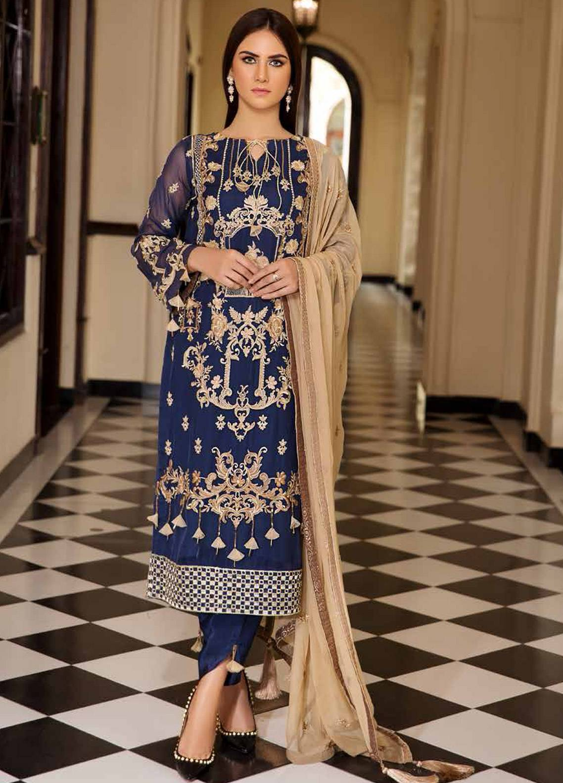 Motifz Embroidered Chiffon Unstitched 3 Piece Suit MTF19C 2182 BAROQUE BLUE - Luxury Collection