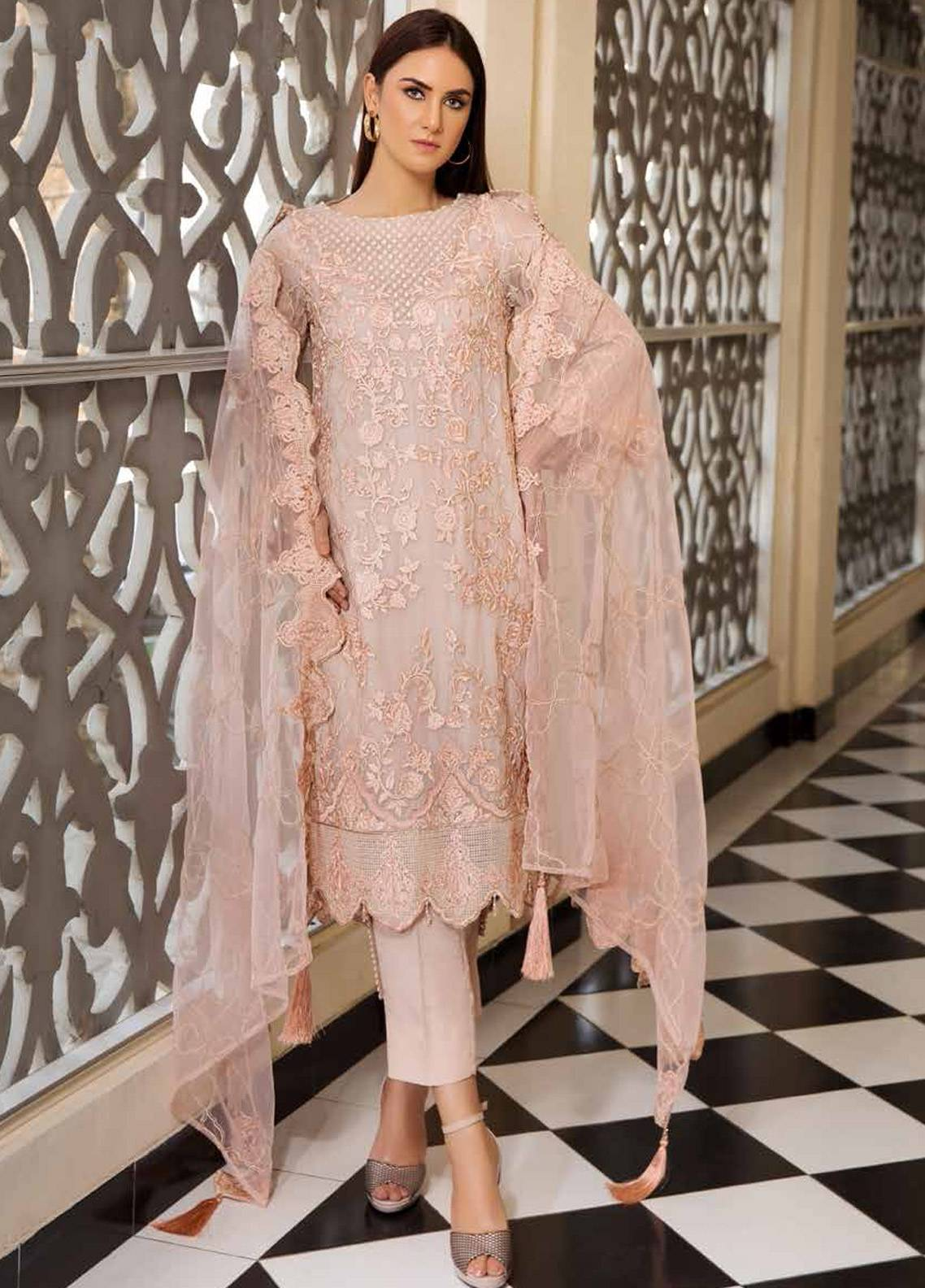 Motifz Embroidered Chiffon Unstitched 3 Piece Suit MTF19C 2184 LACEY PINK - Luxury Collection