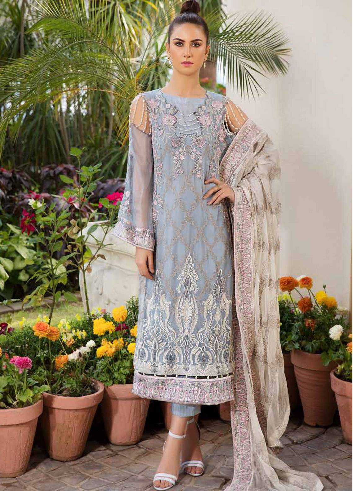 Motifz Embroidered Chiffon Unstitched 3 Piece Suit MTF19C 2185 FROZEN BLUE - Luxury Collection
