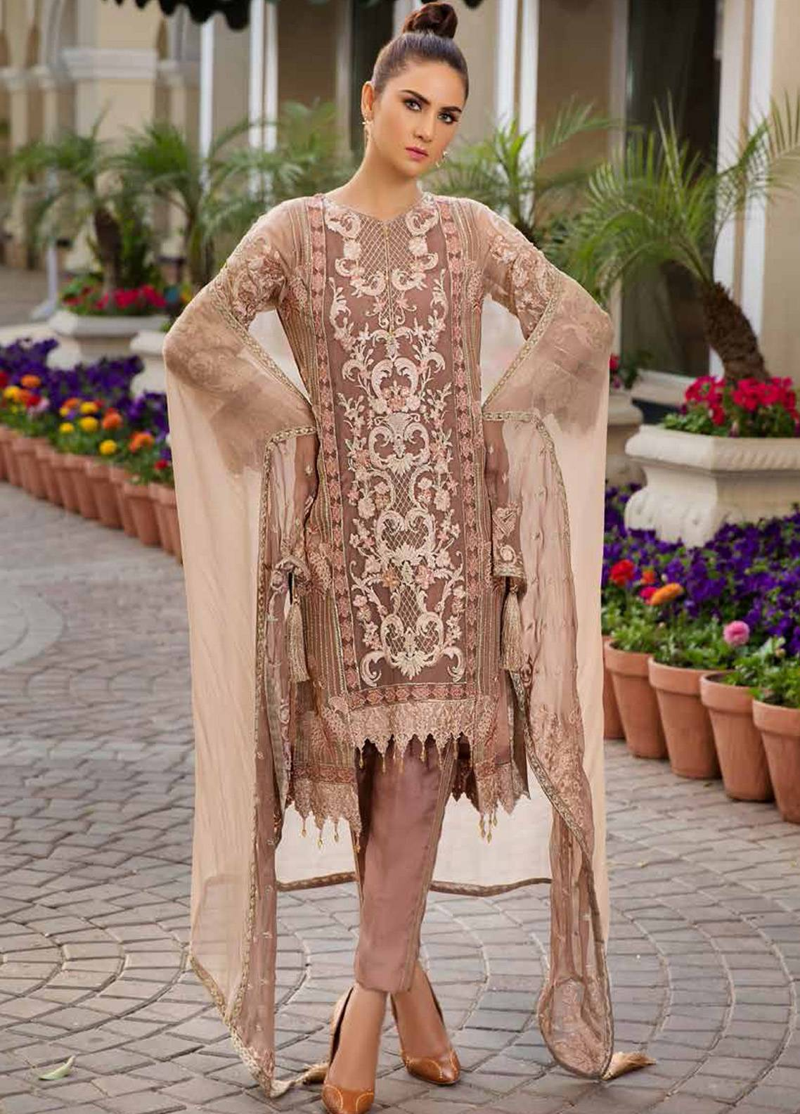 Motifz Embroidered Chiffon Unstitched 3 Piece Suit MTF19C 2187 CHOCO LILY - Luxury Collection