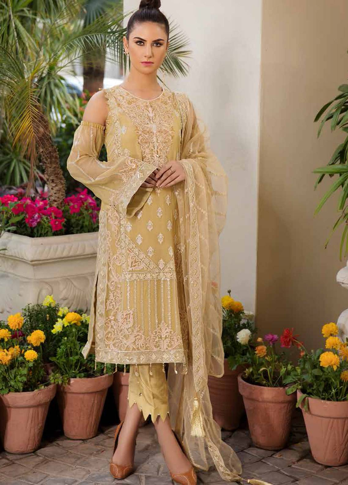 Motifz Embroidered Chiffon Unstitched 3 Piece Suit MTF19C 2189 MOROCCAN MUSTARD - Luxury Collection