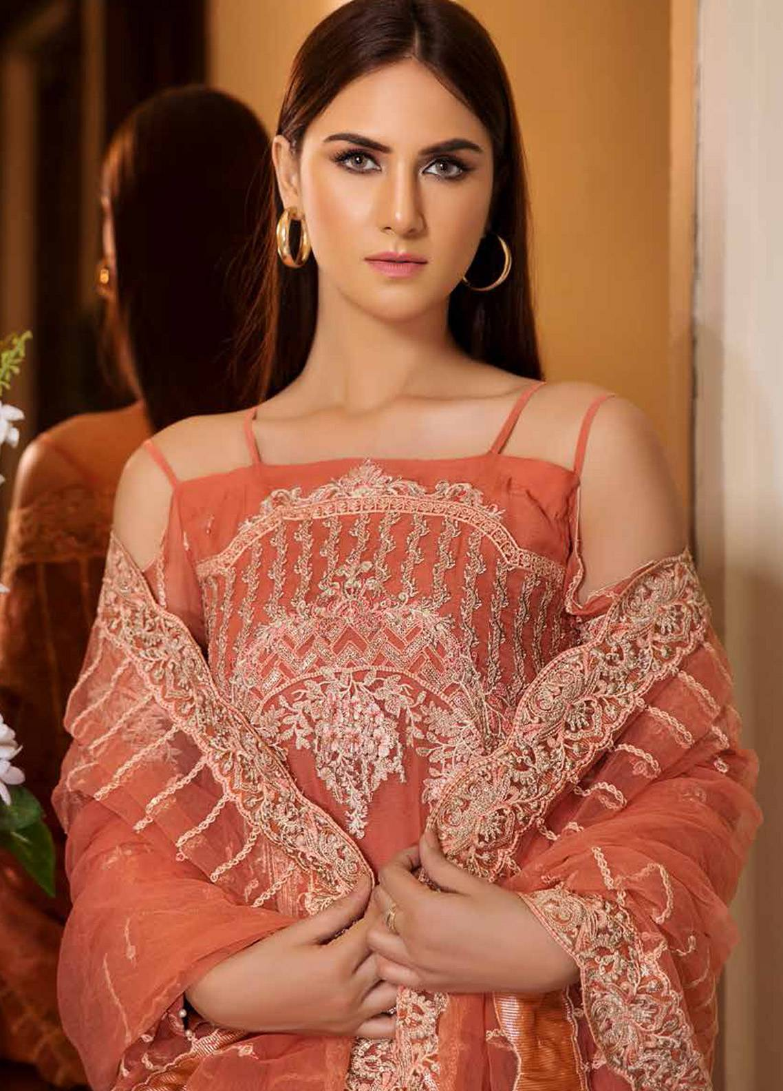Motifz Embroidered Chiffon Unstitched 3 Piece Suit MTF19C 2190 CORAL ORCHARD - Luxury Collection