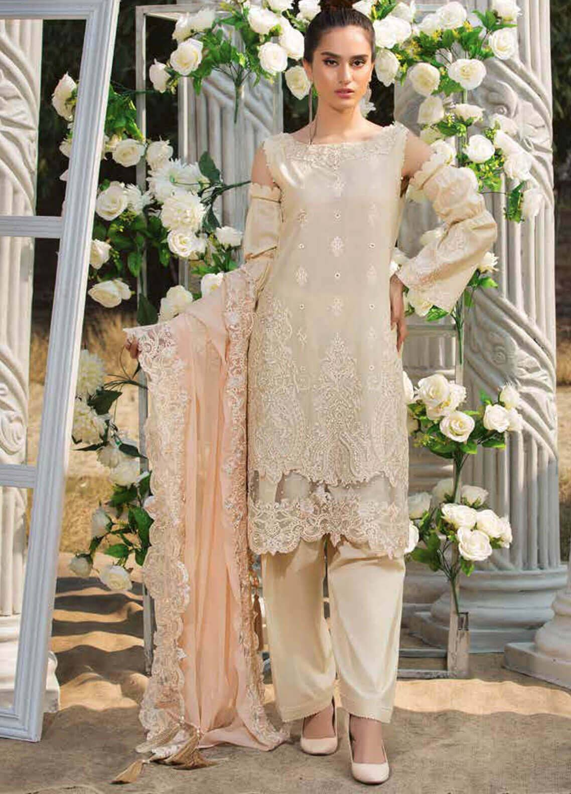 Motifz Embroidered Lawn Unstitched 3 Piece Suit MT19L 2204 LACY CREAM - Spring / Summer Collection