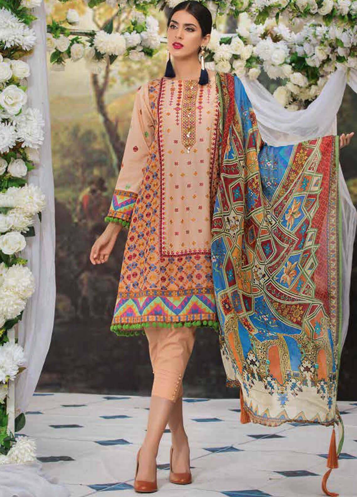 Motifz Embroidered Lawn Unstitched 3 Piece Suit MT19L 2207 RADIANT PHULKARI - Spring / Summer Collection