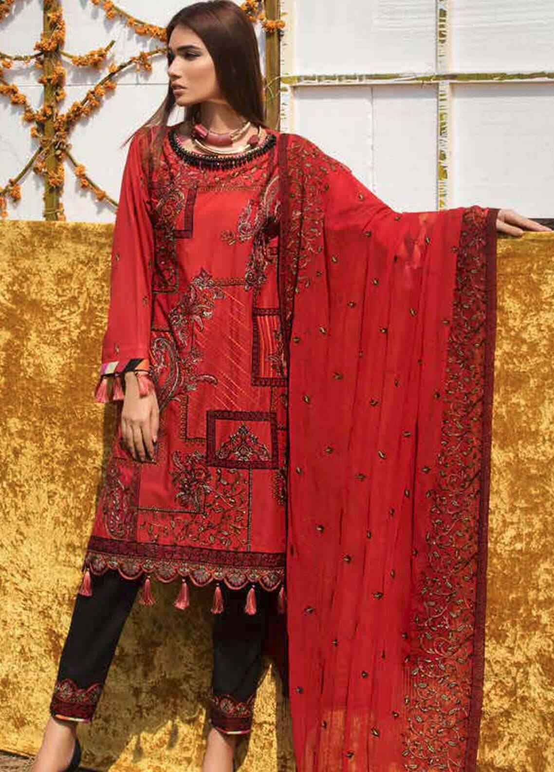 Motifz Embroidered Lawn Unstitched 3 Piece Suit MT19L 2211 PASSION PAISLEY - Spring / Summer Collection
