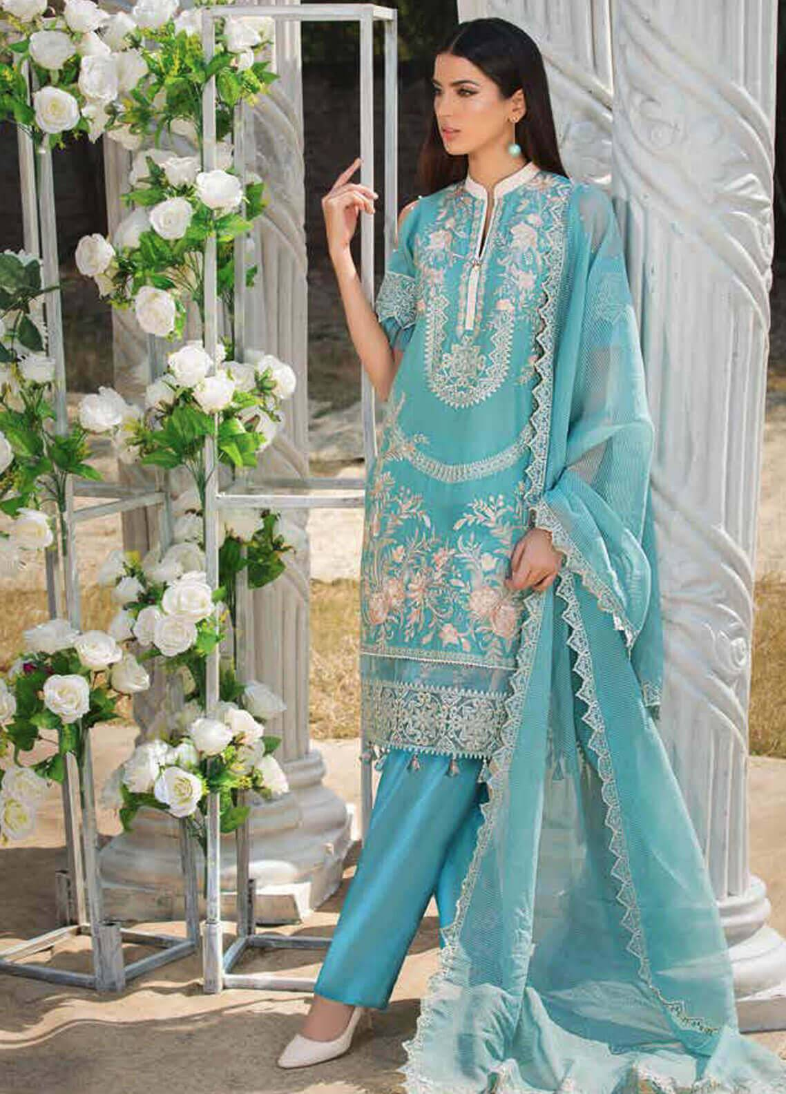 Motifz Embroidered Lawn Unstitched 3 Piece Suit MT19L 2216 EETHNIC OCEAN - Spring / Summer Collection