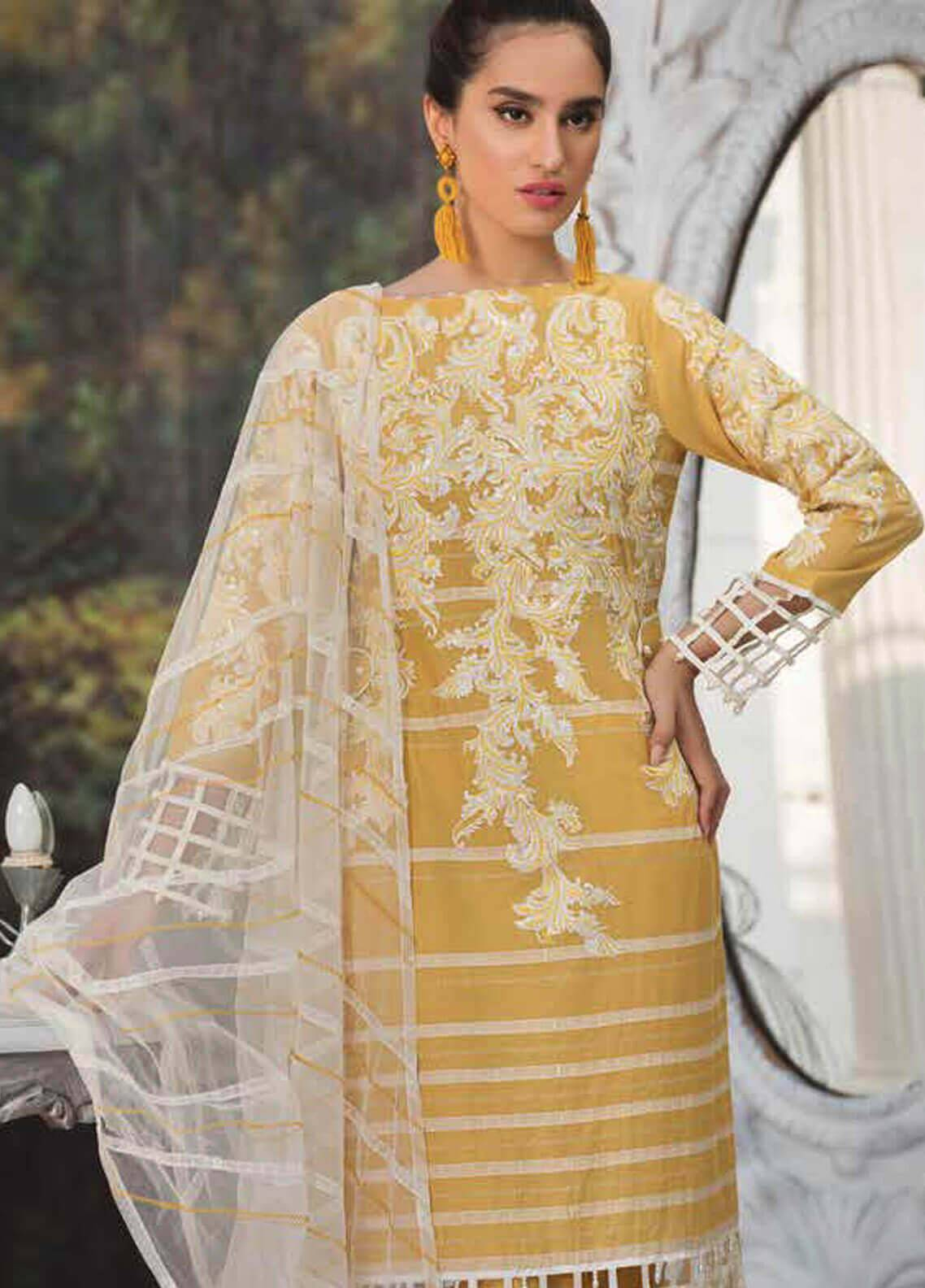 Motifz Embroidered Lawn Unstitched 3 Piece Suit MT19L 2217 SEQUINCED GRID - Spring / Summer Collection