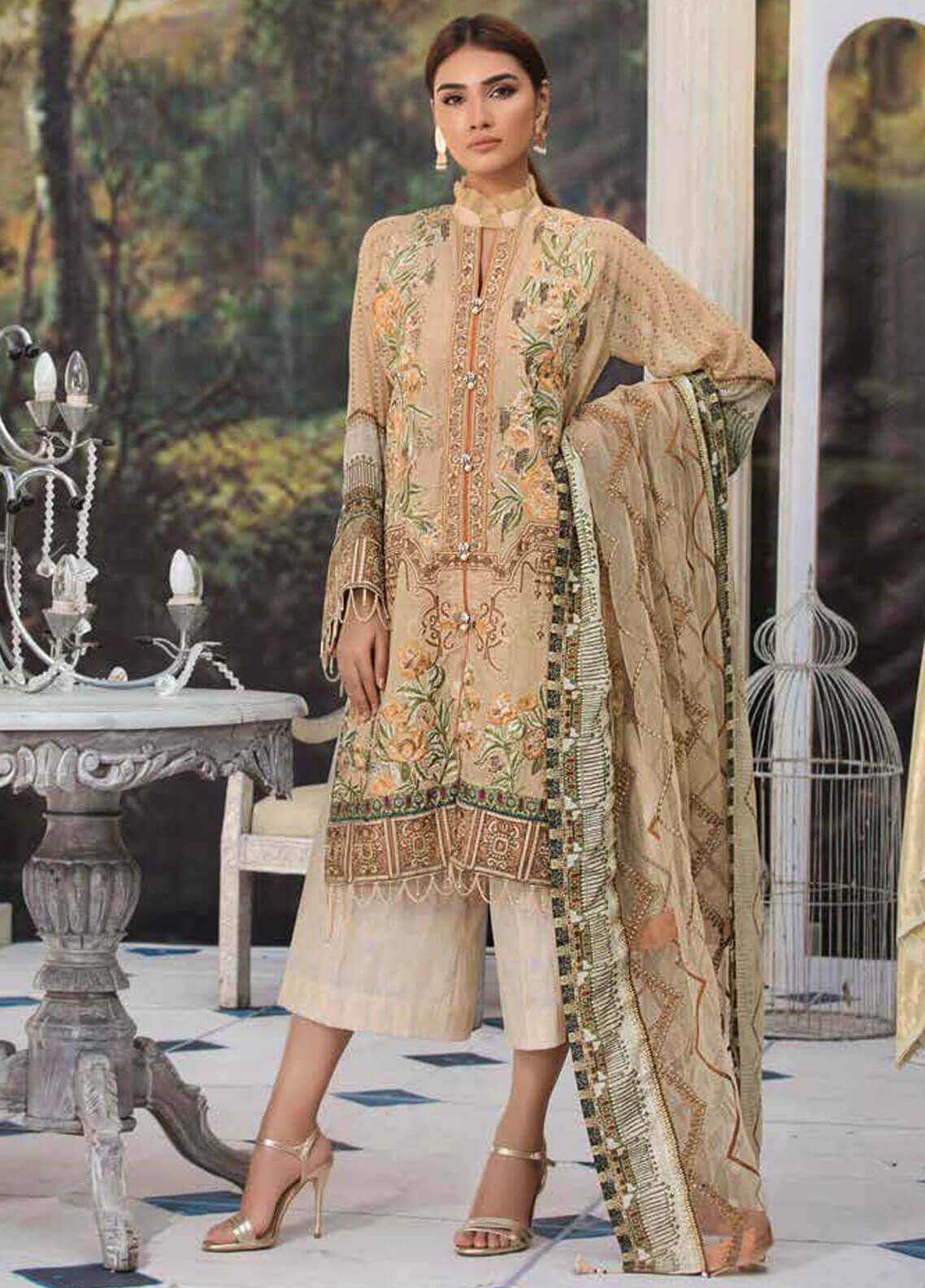 Motifz Embroidered Lawn Unstitched 3 Piece Suit MT19L 2220 JEWELLED CHEVRON - Spring / Summer Collection