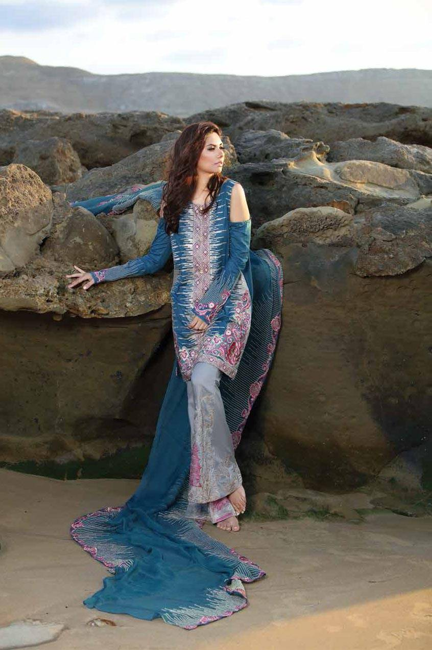 Motifz Embroidered Lawn Unstitched 3 Piece Suit MT17L 1581A