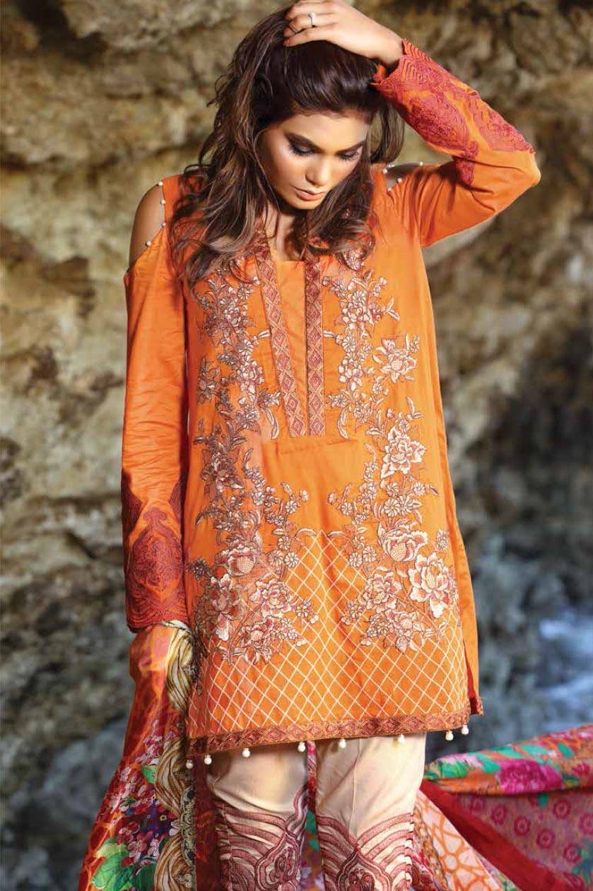 Motifz Embroidered Lawn Unstitched 3 Piece Suit MT17L 1585A