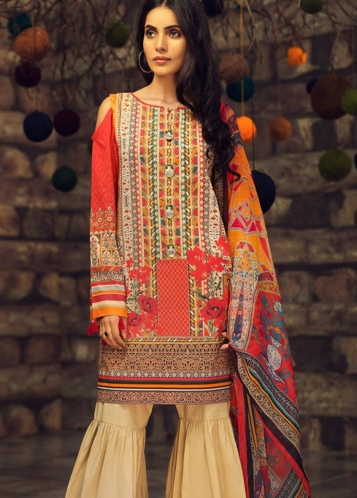 LimeLight Printed Cambric Unstitched 2 Piece Suit MUGHAL DREAM (CARROT) - Cambric Collection