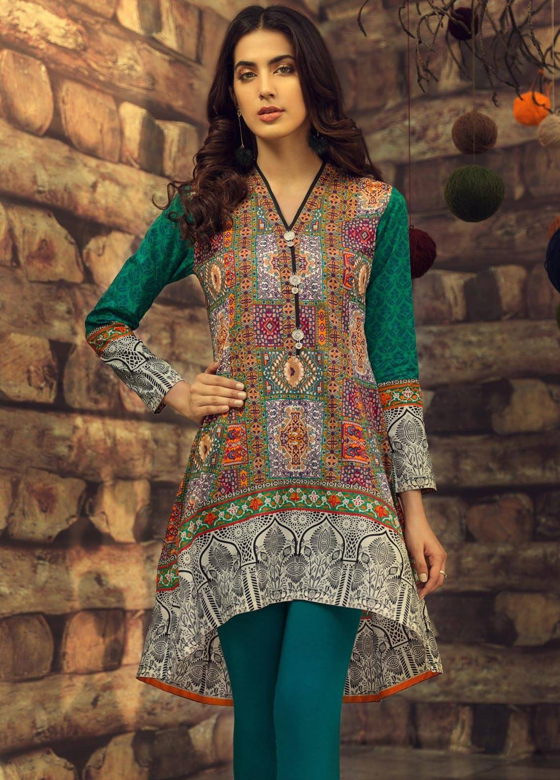 LimeLight Printed Cambric Unstitched Kurties MUGHAL TALES (GREEN) - Cambric Collection