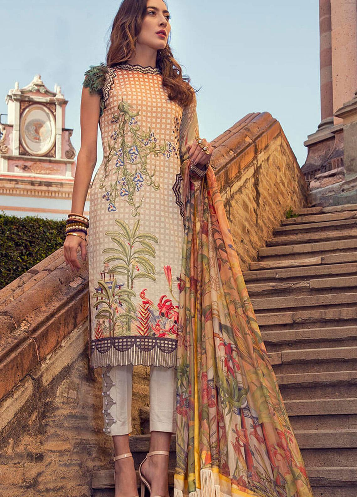 Mushq Embroidered Lawn Unstitched 3 Piece Suit MSQ19L 07 BROMELIA - Spring / Summer Collection