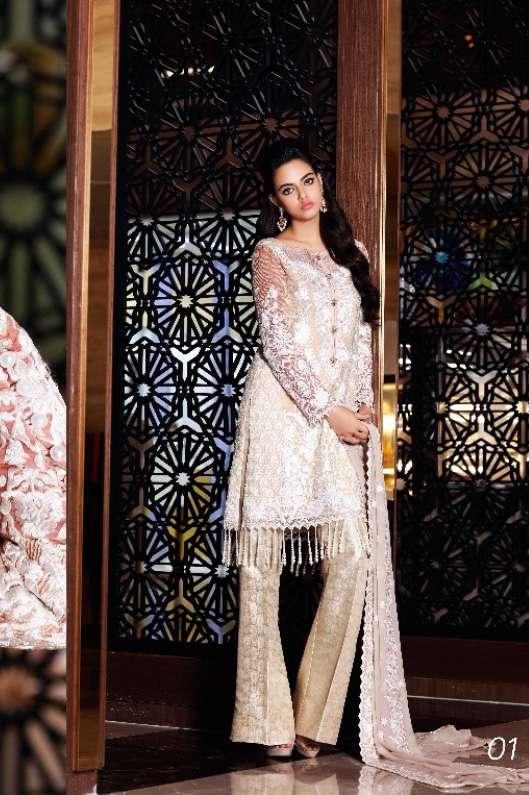 Nomi Ansari By Shariq Embroidered Chiffon Unstitched 3 Piece Suit NA17E 01