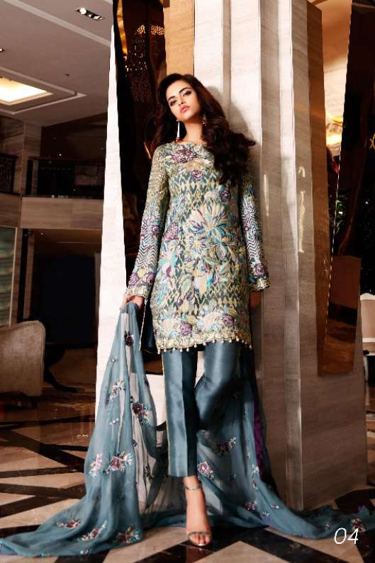 Nomi Ansari By Shariq Embroidered Chiffon Unstitched 3 Piece Suit NA17E 04
