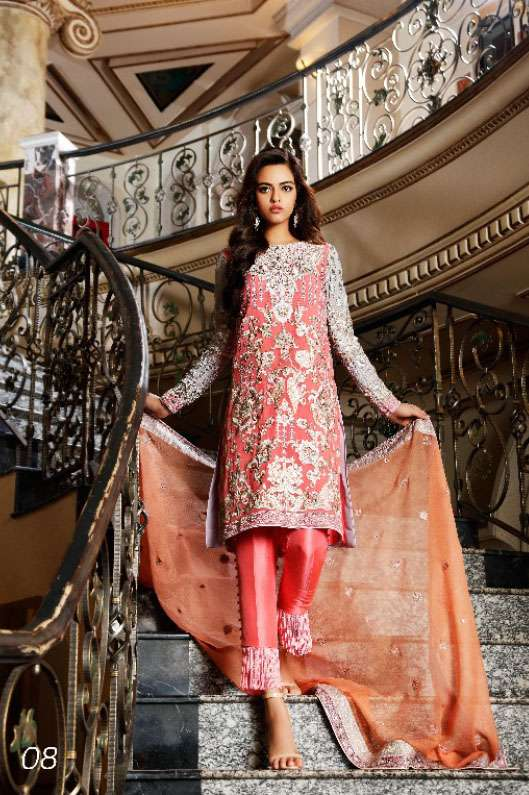 Nomi Ansari By Shariq Embroidered Chiffon Unstitched 3 Piece Suit NA17E 08