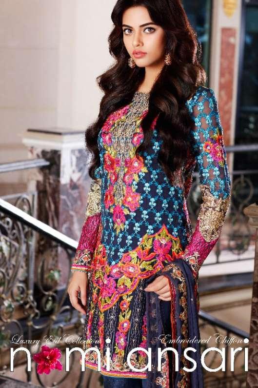 Nomi Ansari By Shariq Embroidered Chiffon Unstitched 3 Piece Suit NA17E 09