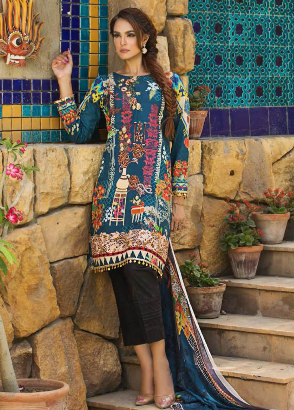 Nadia Hussain Embroidered Lawn Unstitched 3 Piece Suit NH19L 06 - Spring / Summer Collection