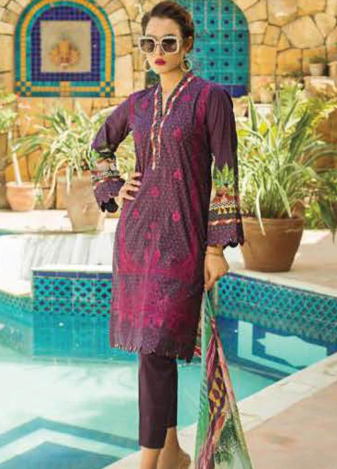 Nadia Hussain Embroidered Lawn Unstitched 3 Piece Suit NH19L 08 - Spring / Summer Collection
