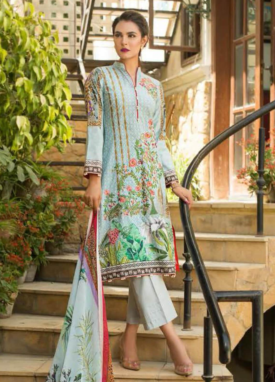 Nadia Hussain Embroidered Lawn Unstitched 3 Piece Suit NH19L 09 - Spring / Summer Collection