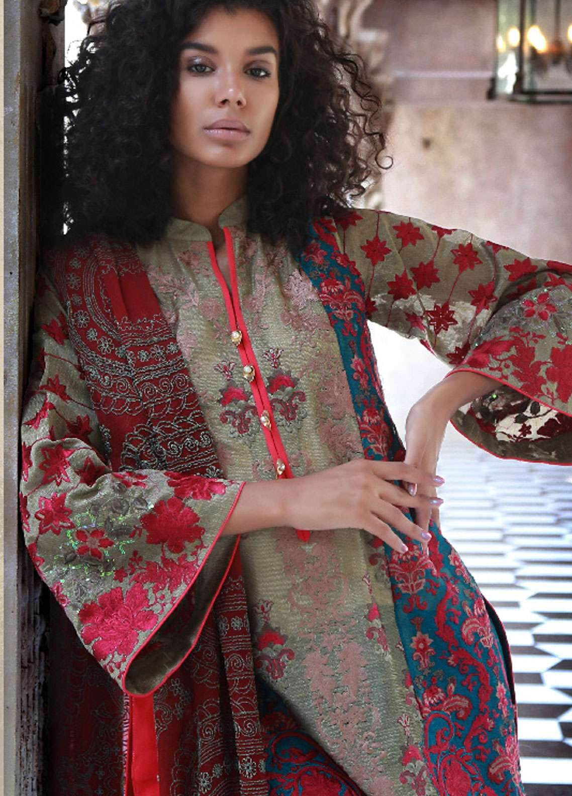 Nomi Ansari Embroidered Cotton Net Unstitched 3 Piece Suit NA18W 03 - Winter Collection