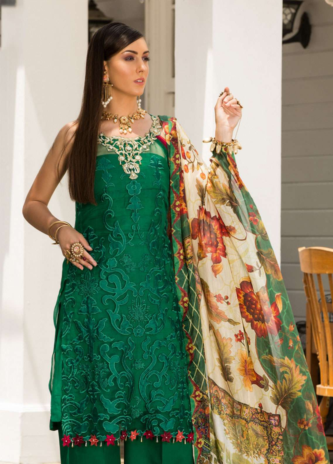 Saadia Asad Embroidered Pure Organza Unstitched 3 Piece Suit NSA19F 01 - Festive Collection