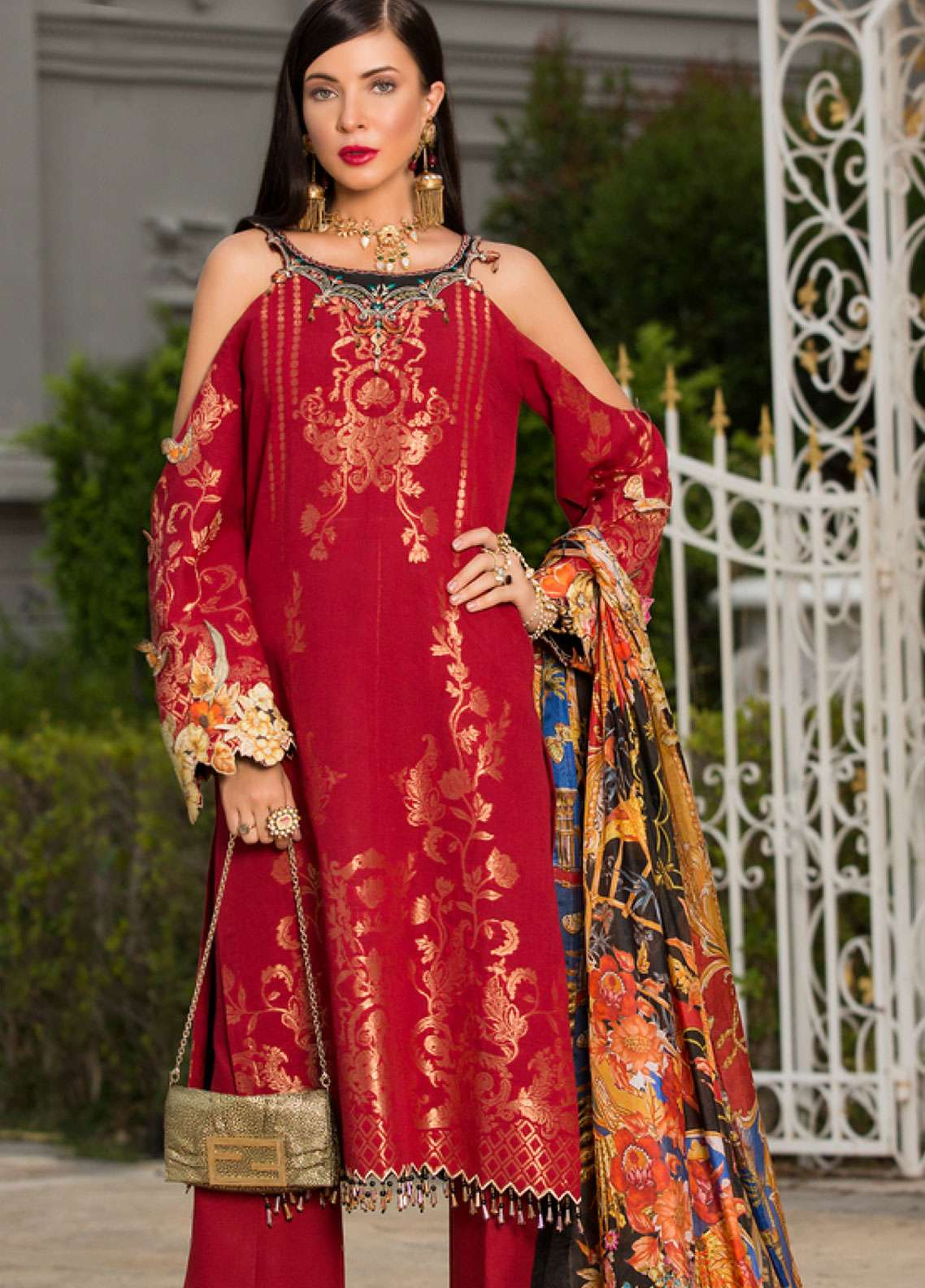 Saadia Asad Embroidered Jacquard Zari Lawn Unstitched 3 Piece Suit NSA19F 04 - Festive Collection