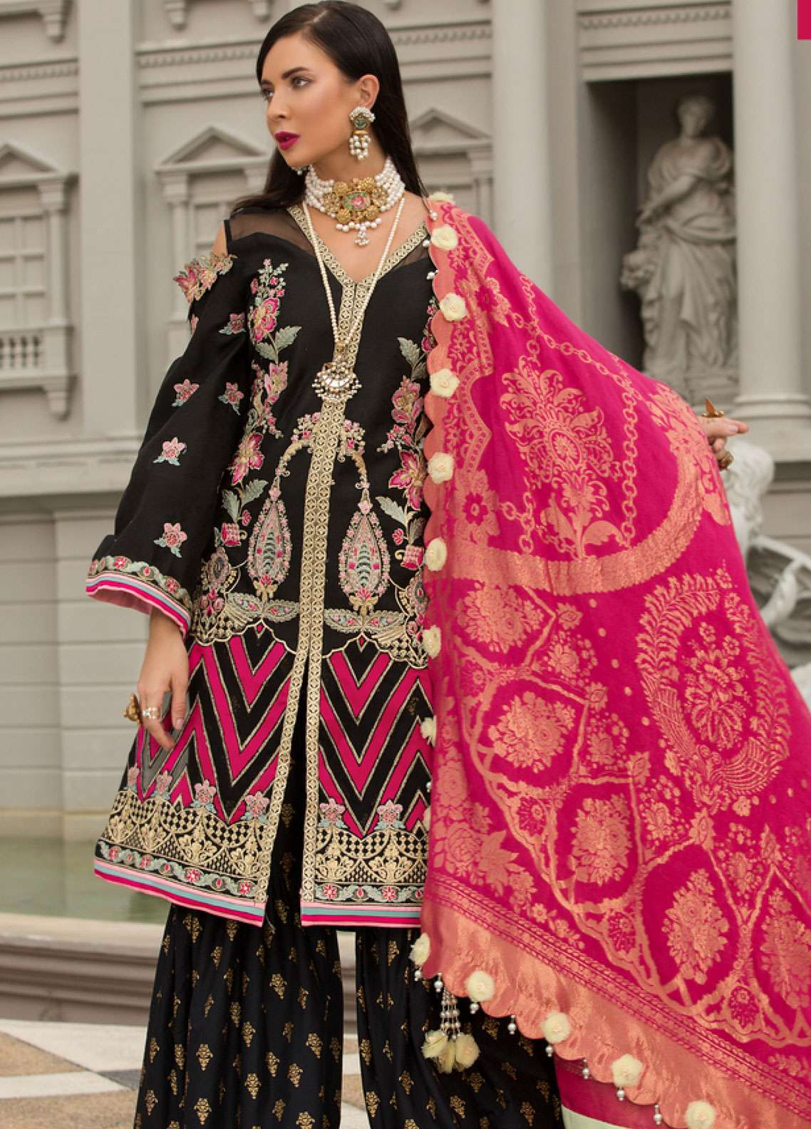 Saadia Asad Embroidered Jacquard Lawn Unstitched 3 Piece Suit NSA19F 05 - Festive Collection