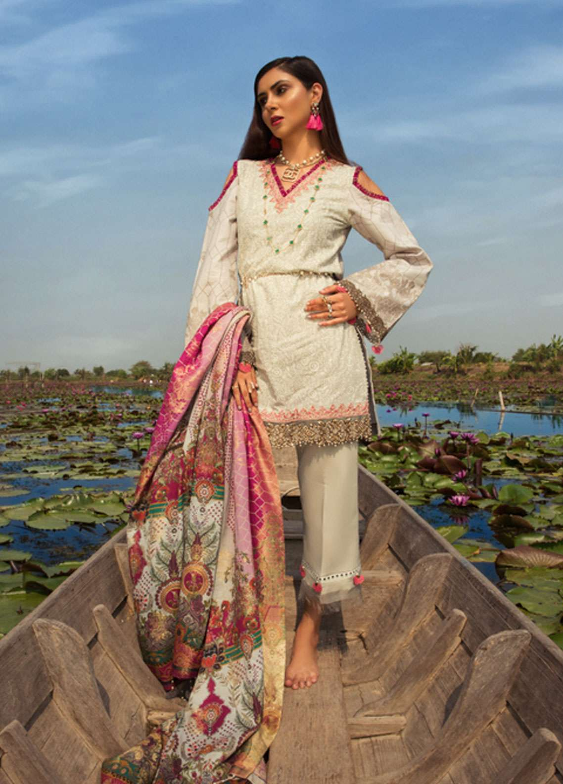 Noor by Saadia Asad Embroidered Lawn Unstitched 3 Piece Suit NSA19L 10B - Spring / Summer Collection