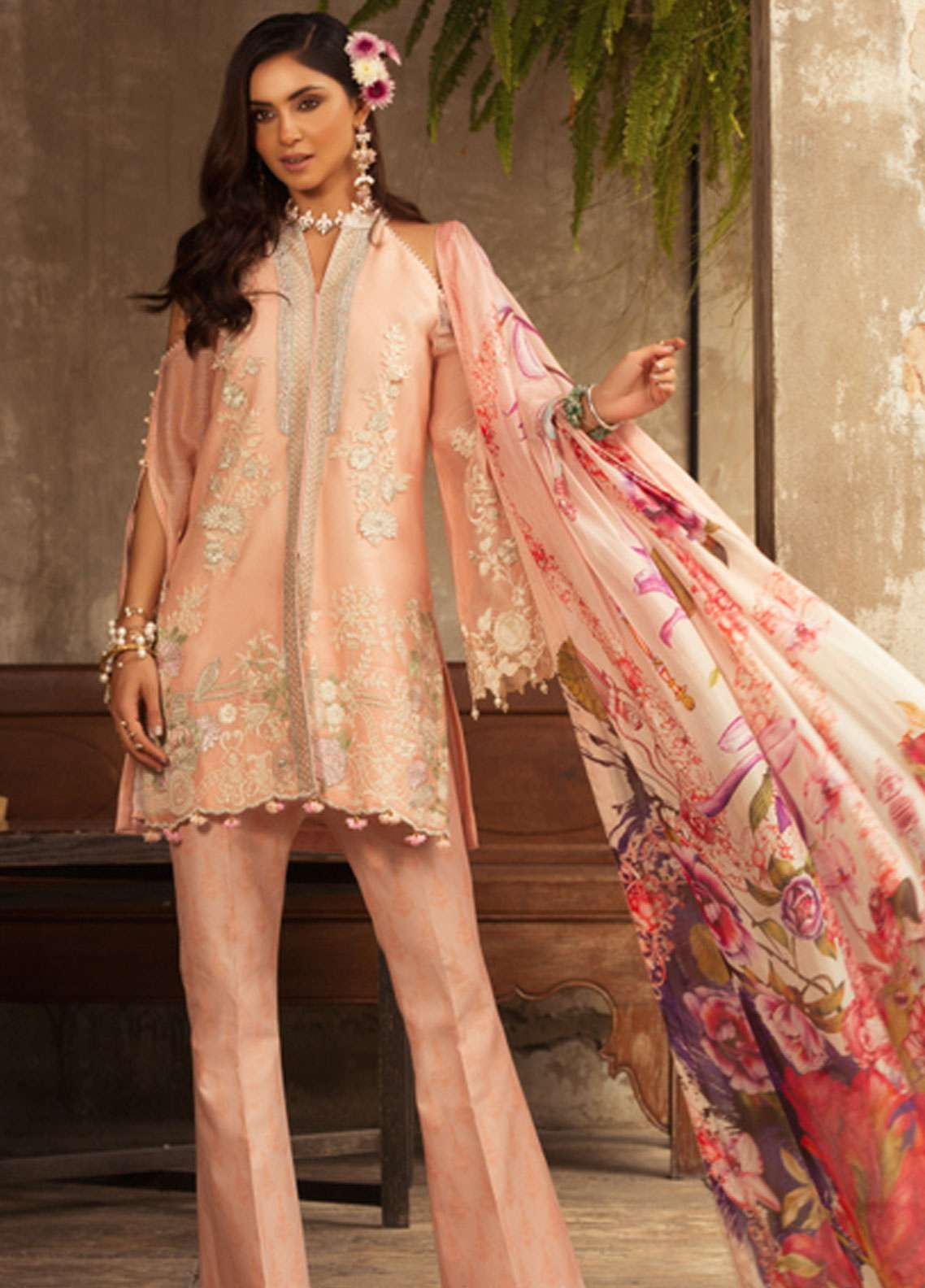 Noor by Saadia Asad Embroidered Cotton Net Unstitched 3 Piece Suit NSA19L 3A - Spring / Summer Collection