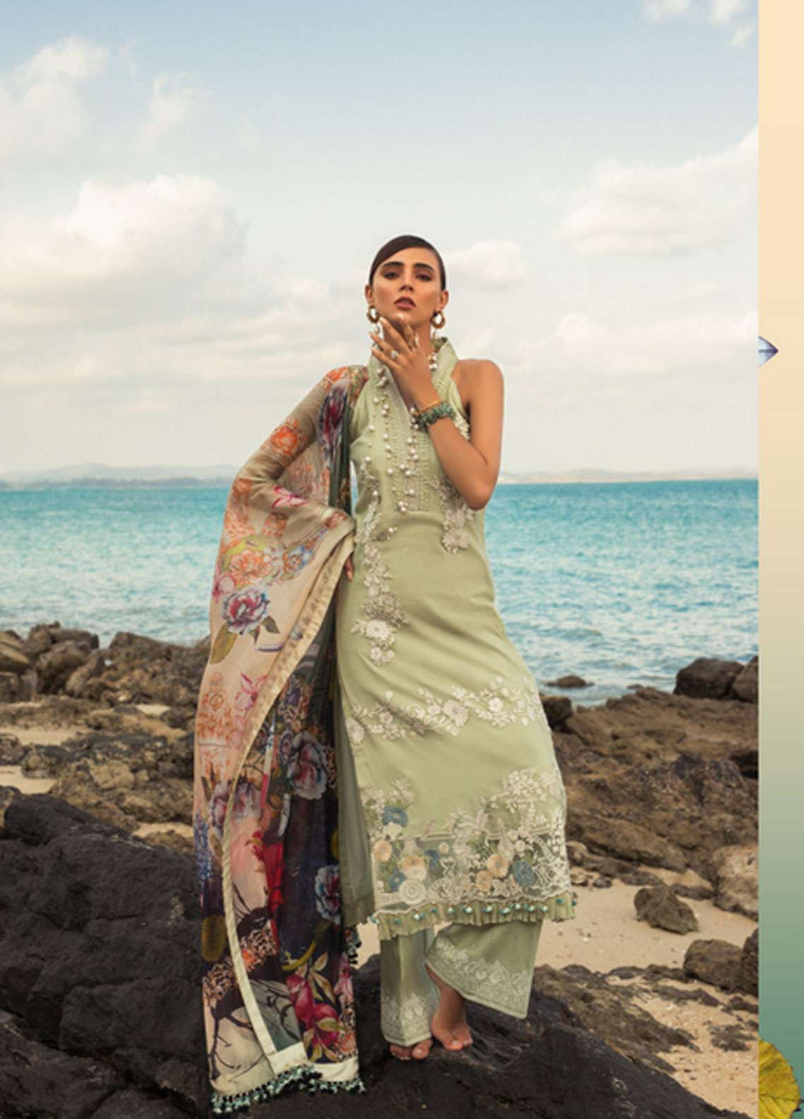 Noor by Saadia Asad Embroidered Cotton Net Unstitched 3 Piece Suit NSA19L 3B - Spring / Summer Collection