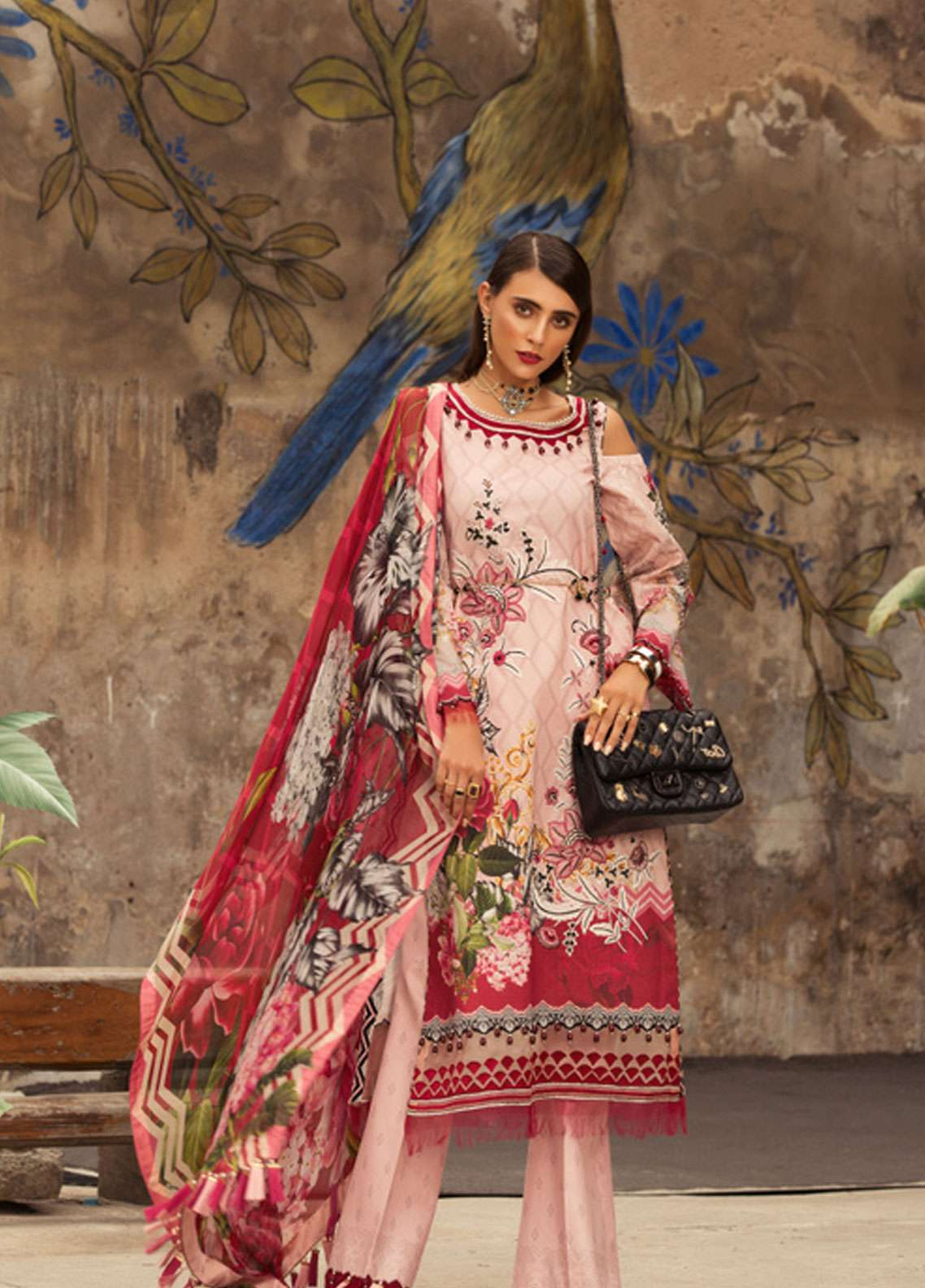 Noor by Saadia Asad Embroidered Lawn Unstitched 3 Piece Suit NSA19L 8A - Spring / Summer Collection