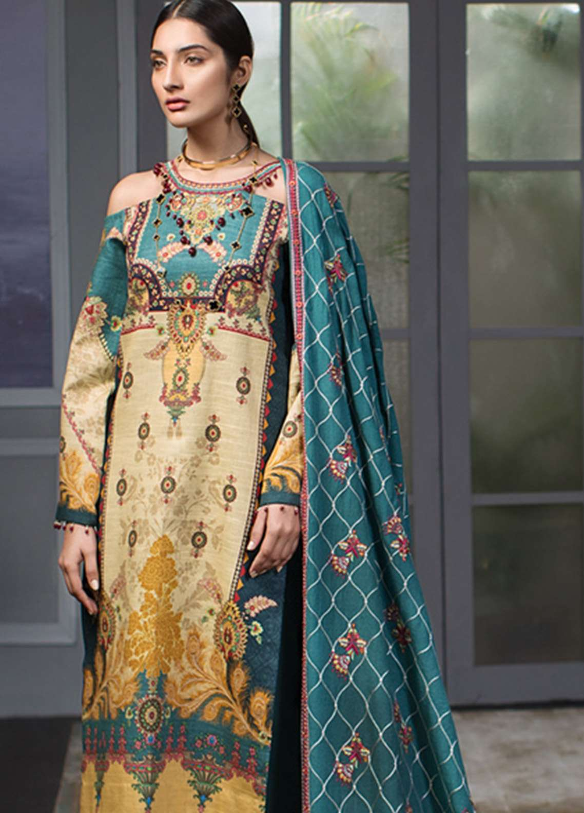 Noor By Saadia Asad Embroidered Khaddar Unstitched 3 Piece Suit NO18W 2 Chanson - Winter Shawl Collection