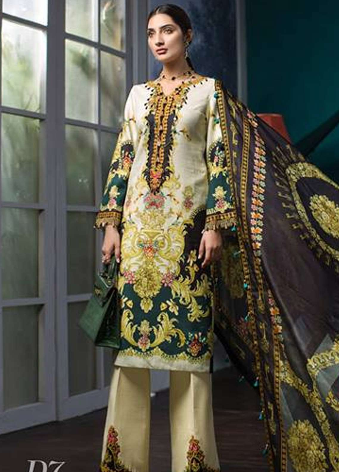 Noor By Saadia Asad Embroidered Khaddar Unstitched 3 Piece Suit NO18W 7 Soliel - Winter Shawl Collection