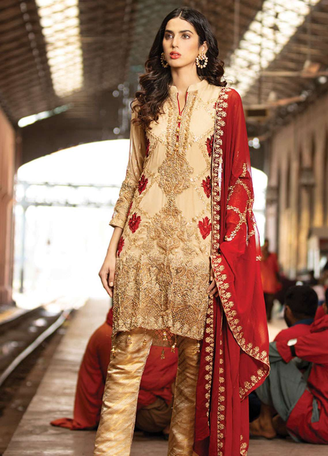 Noorma Kamal Embroidered Chiffon Unstitched 3 Piece Suit NK19F 07 FLAXEN RACEME - Festive Collection