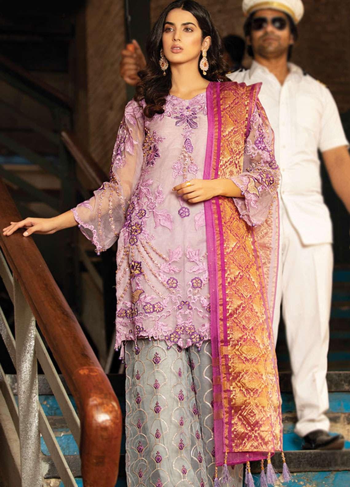 Noorma Kamal Embroidered Organza Unstitched 3 Piece Suit NK19F 08 CISTUS ALBIDUS - Festive Collection