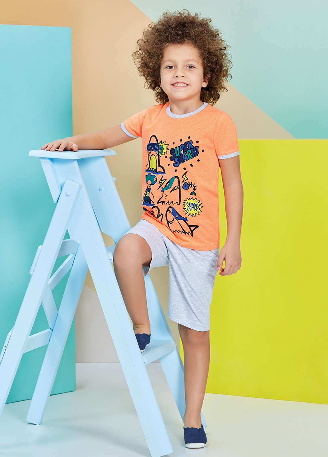 Cotton Net Nightwear for Kids 2 Piece NS18K 1213 ORANGE