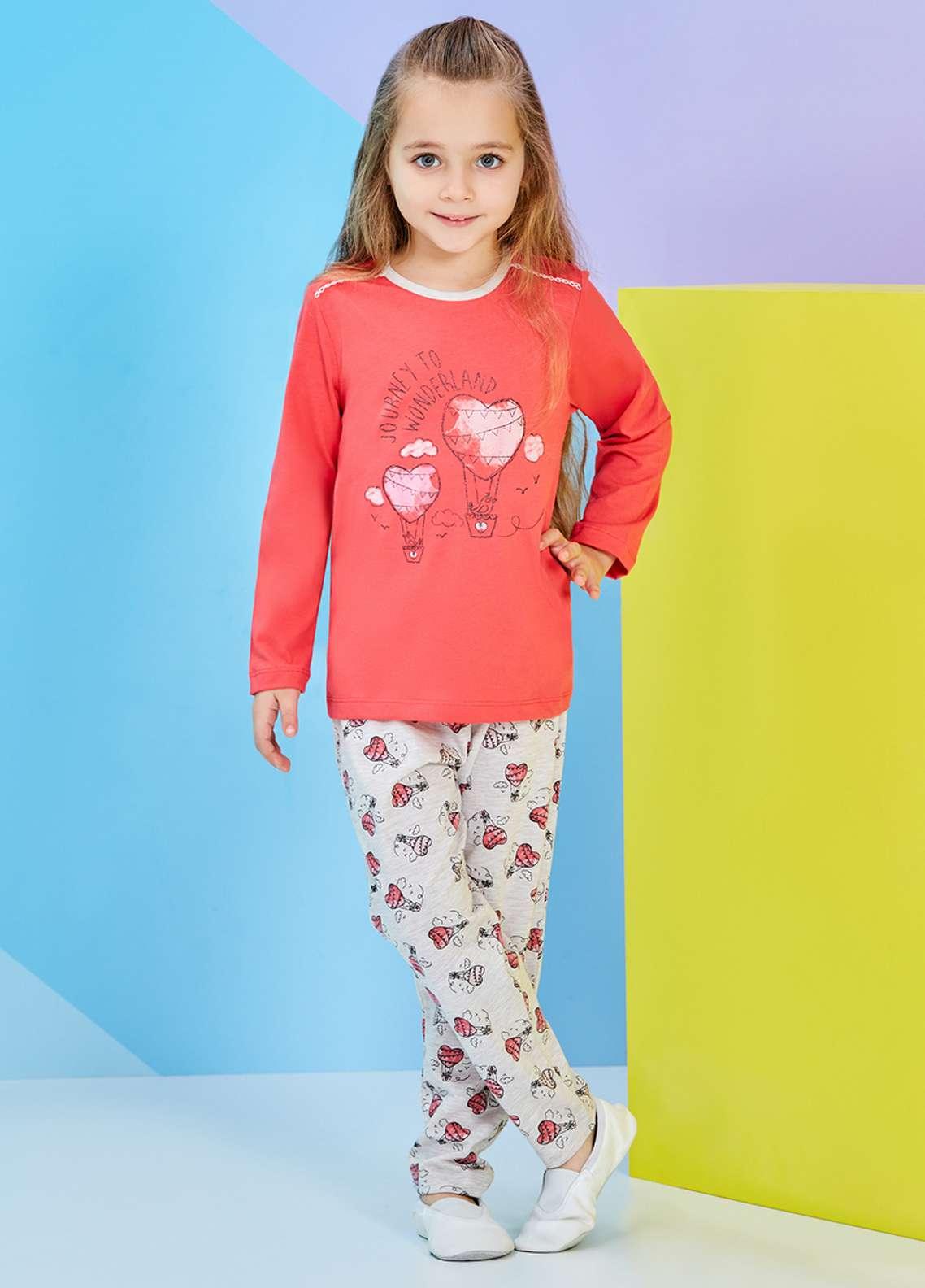 Cotton Net Kids Nightwear 2 Piece NS18K 1251 DARK PINK