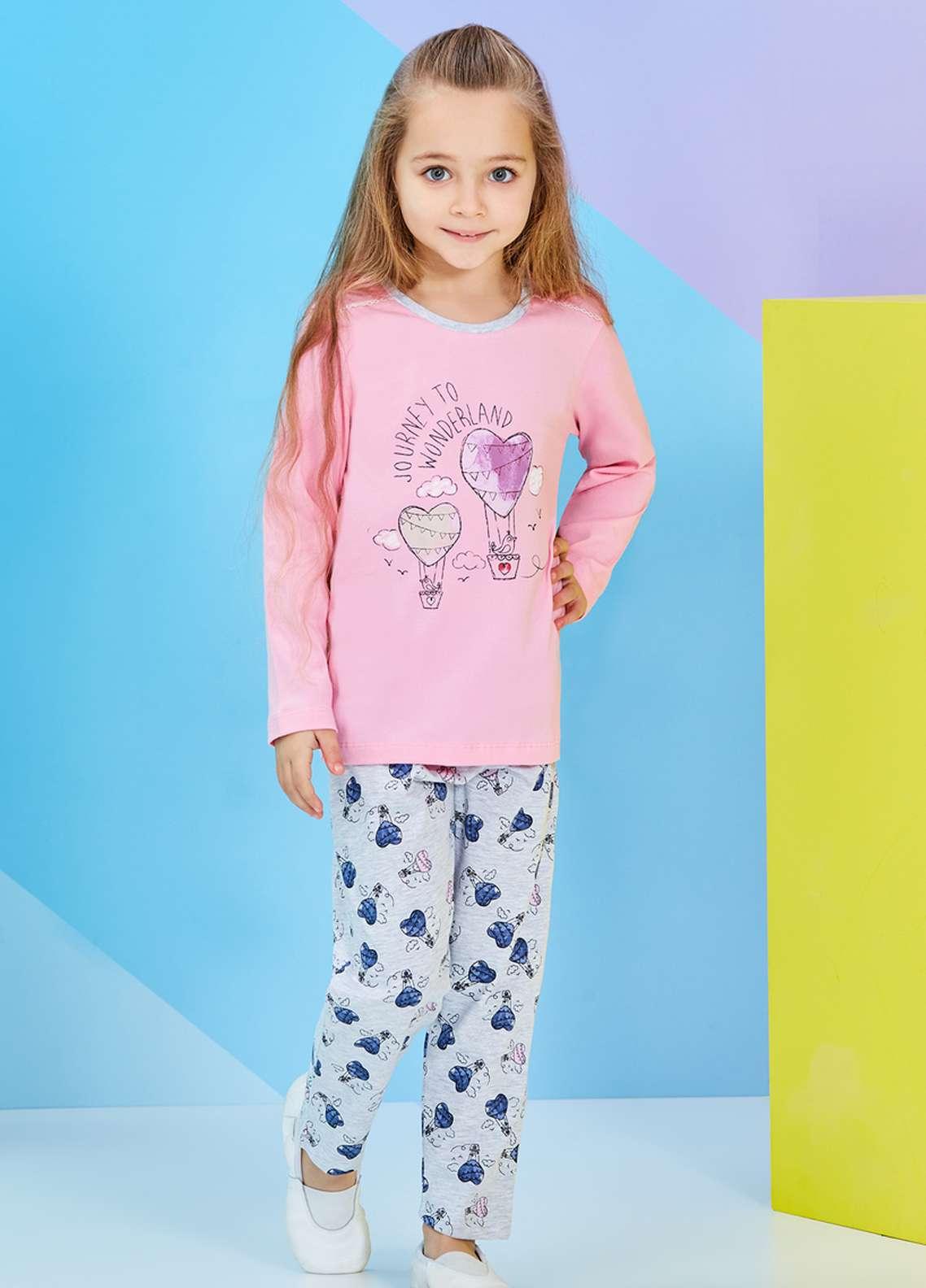 Cotton Net Nightwear for Kids 2 Piece NS18K 1251 PINK