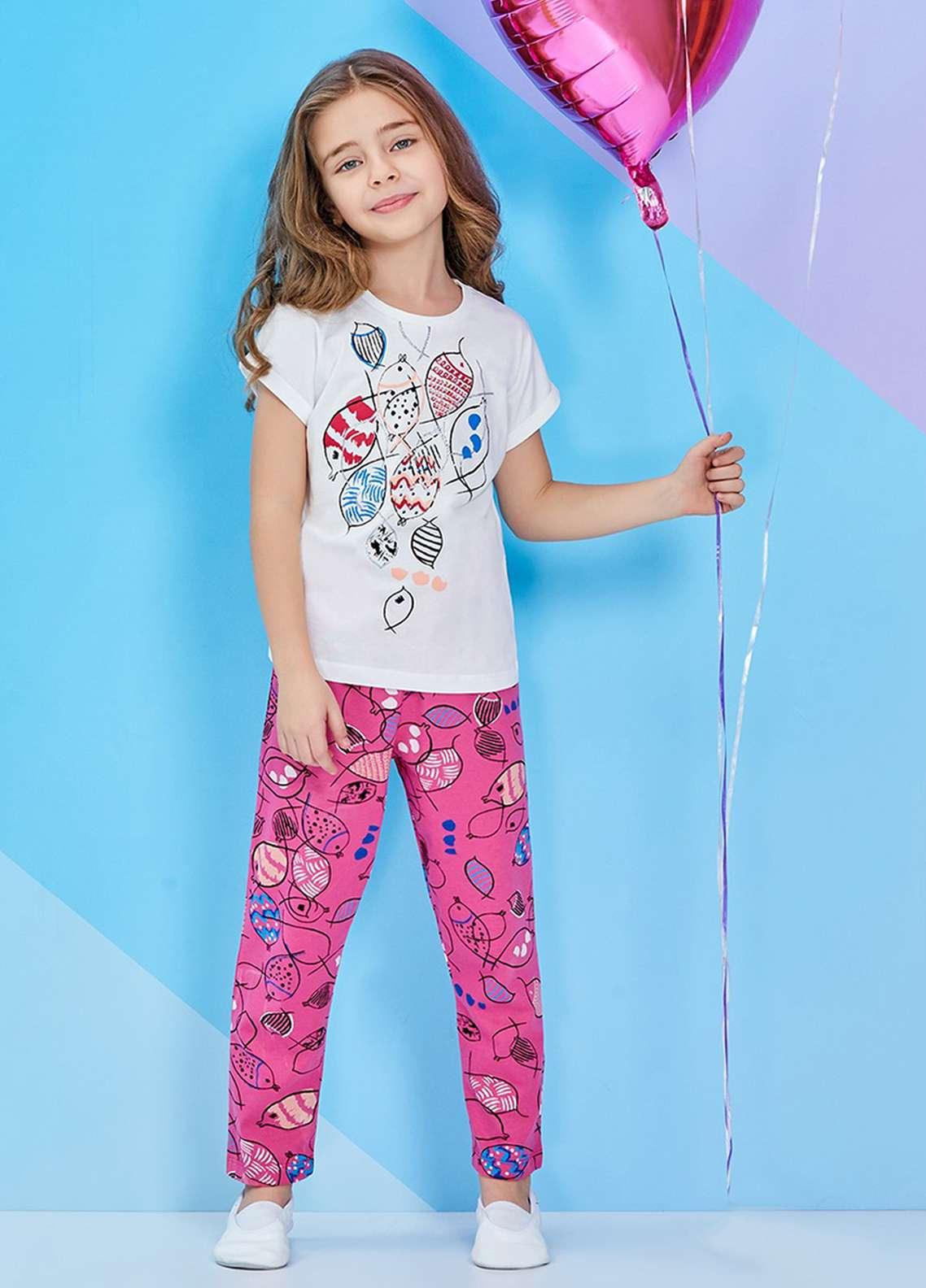 Cotton Net Kids Nightwear 2 Piece NS18K 2255 WHITE
