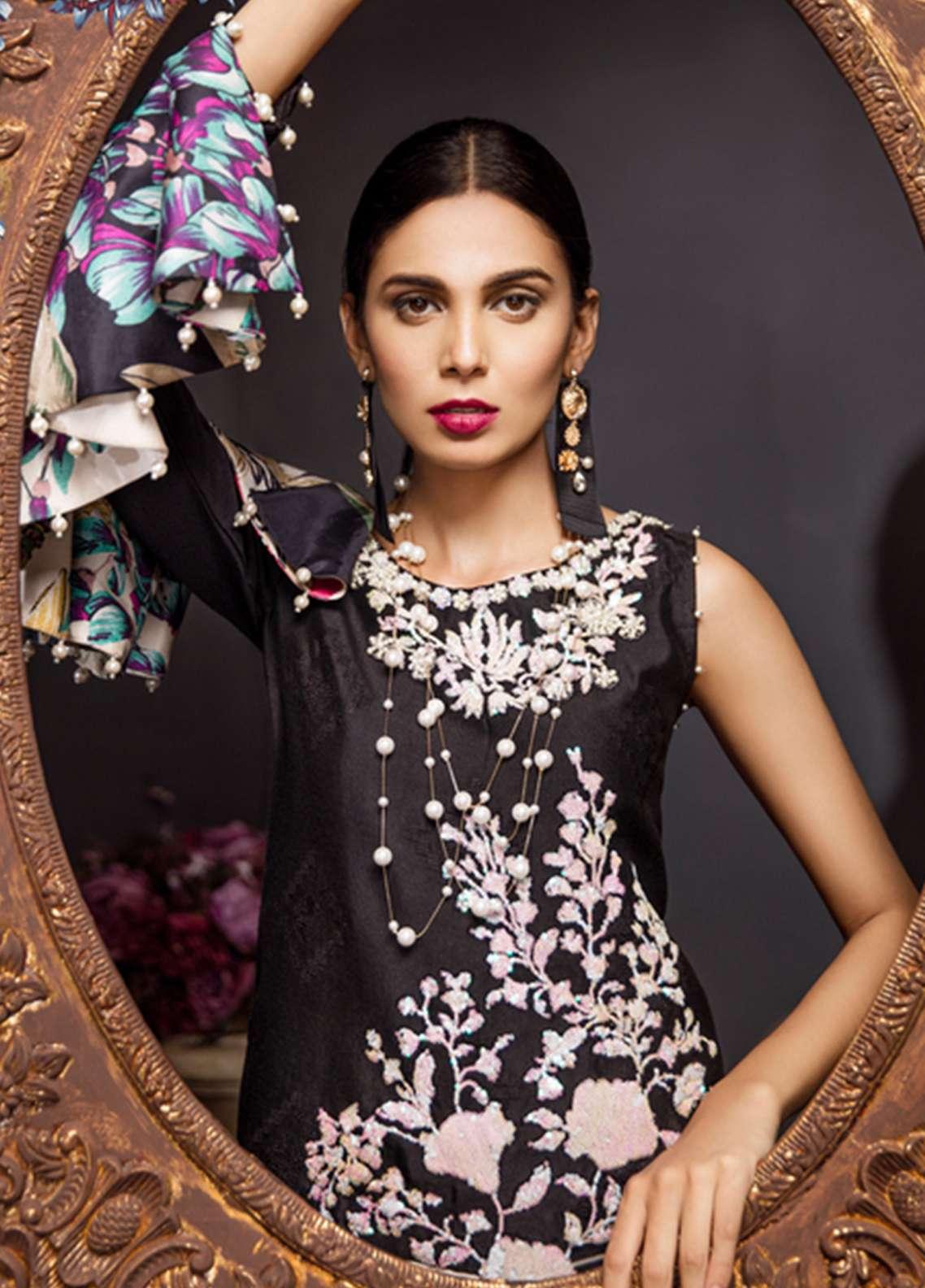 Noor By Saadia Asad Embroidered Silk Net Unstitched 3 Piece Suit NSA18C 07 - Noor Bano 2018 Collection