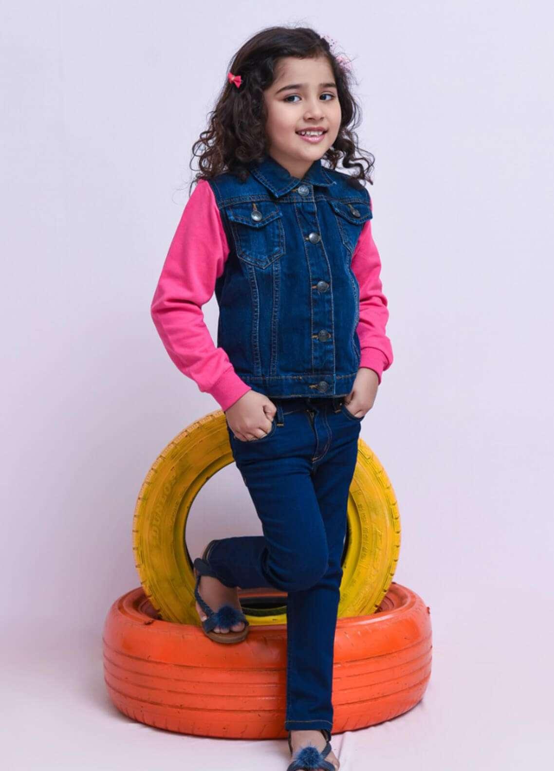 Ochre Denim Textured Jackets for Girls - Blue OJD 01