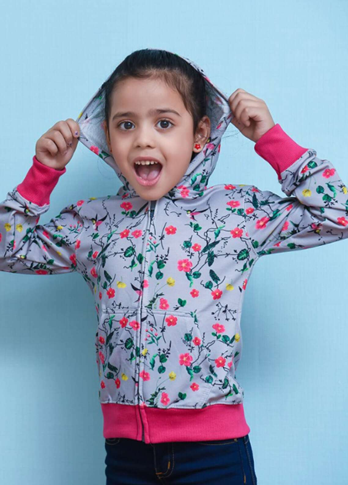 Ochre Fleece Printed Hoodies for Girls - Grey OKH 02