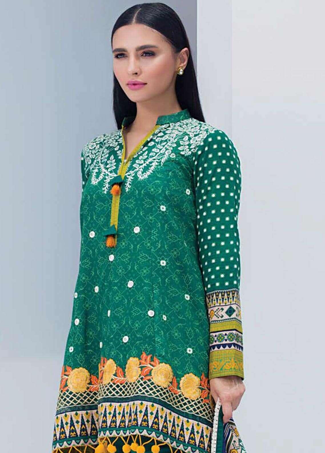 Orient Textile Embroidered Khaddar Unstitched 3 Piece Suit OT18W 196B Cedar - Winter Collection