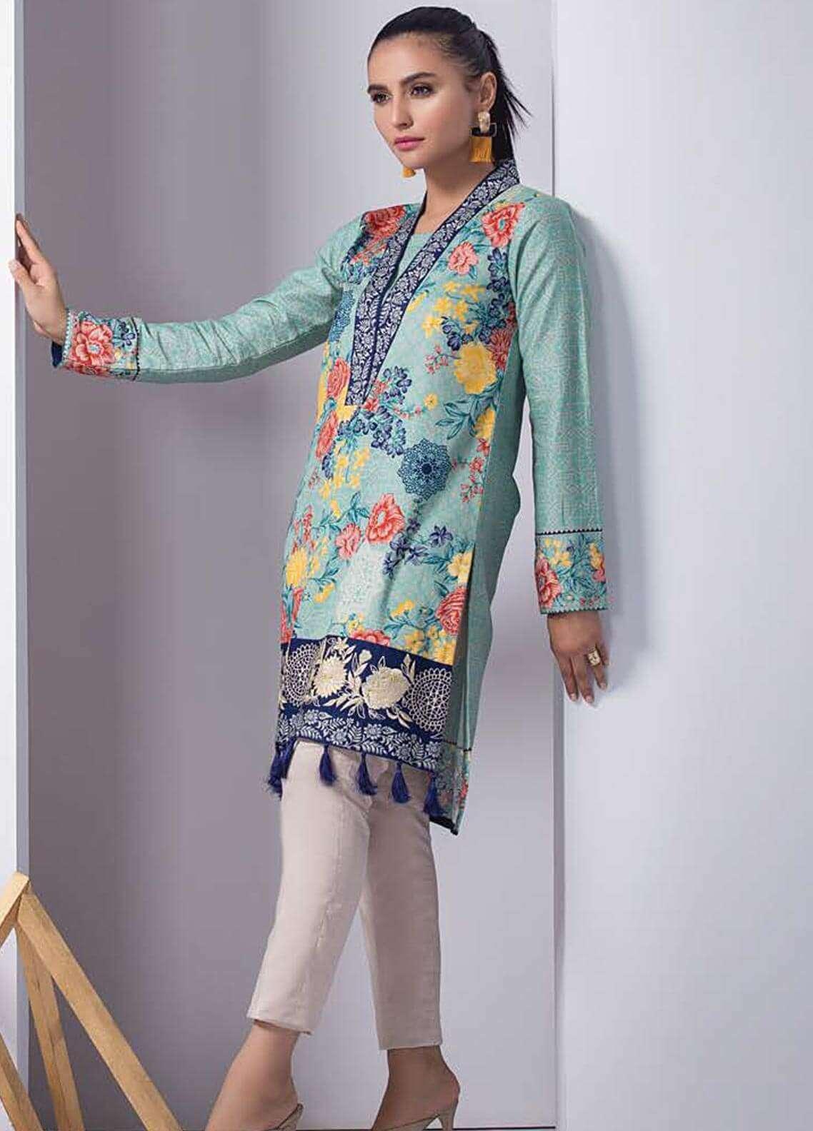 Orient Textile Embroidered Cotton Cotel Unstitched Kurties OT18W 216B Ottoman - Winter Collection